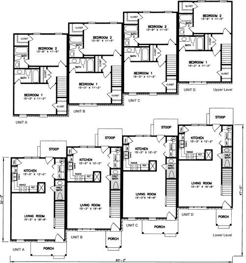 Townhouse plans fourplex with garage house wiring Fourplex apartment plans