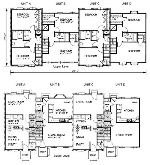 Hyde 4596 transitional quadruplex for Quadruplex apartment plans