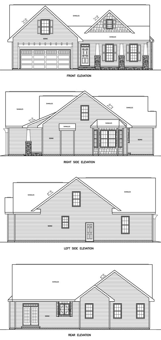 House plans for views to side for Water view home plans